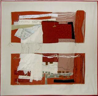 América (2007) Ensamble textil. Telas, hilos, gasa, cordones, piedras. 144 x 144 cm